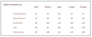 Tabelle Größen Frauen